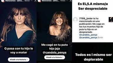 Algunas de las amenazas recibidas por Candela Peña en un collage