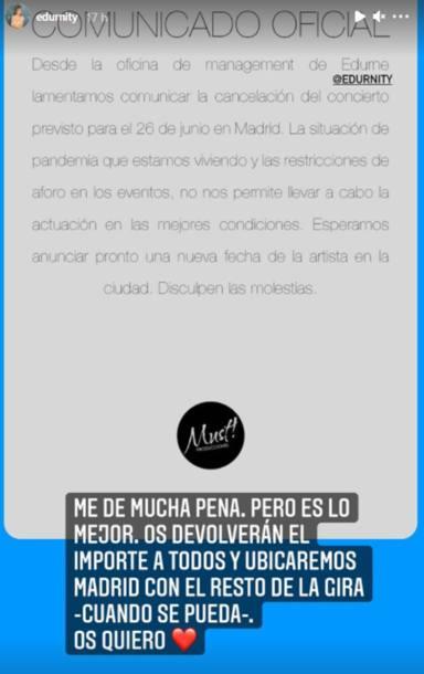Edurne muestra su pena al tener que aplazar el concierto del 26 de junio en Madrid