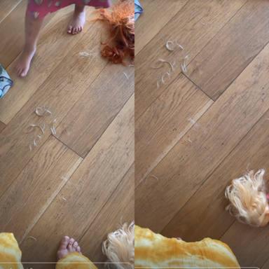 La hija de Tania Llasera le corta el pelo a las barbies
