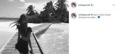 Estela Grande vuelve a utilizar los corazones azules, símbolo de su relación con Diego Matamoros