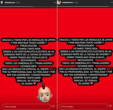 Mensaje de Pedroche y Dabiz Muñoz tras el incendio