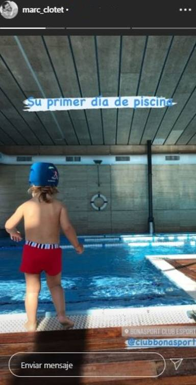 Primer día de piscina de la hija de Natalia Sánchez