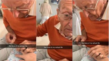 """El emotivo gesto de un abuelo con su nieta recién operada para que """"se sienta mejor"""""""
