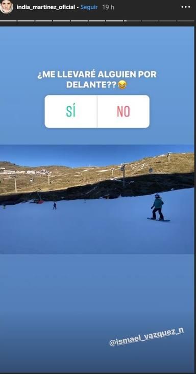 India Martínez sufre un accidente esquiando y se lleva a una persona por delante