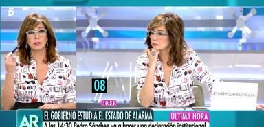 Ana Rosa Quintana concienciada con la crisis del coronavirus