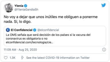 Twitter: Ylenia Padilla vacuna coronavirus
