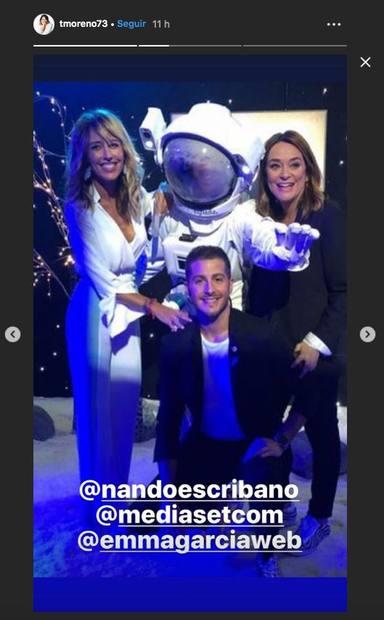 Emma García, Nando Escribano y Toñi Moreno en un evento de Mediaset