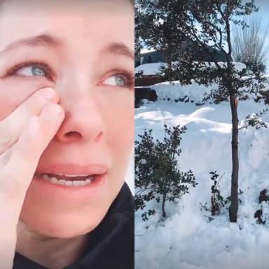 Soraya Arnelas llora por los destrozos de la nieve en la naturaleza