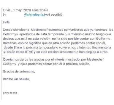 Willy Bárcenas publica el email de Masterchef