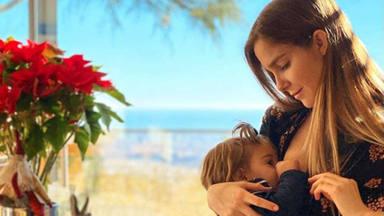 Natalia Sánchez da el pecho a su hija Lia embarazada de su segundo hijo