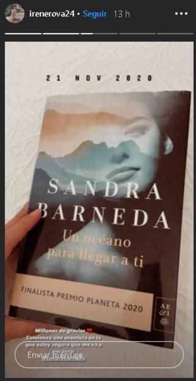 Irene Rosales agradeciendo el gesto de Sandra Barneda