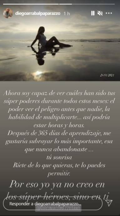 Diego Arrabal mensaje a su mujer madre de su hijo