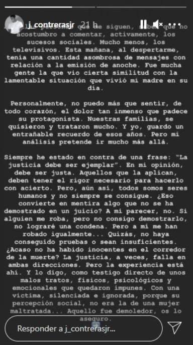 El mensaje de Julián Contreras denunciando los malos tratos a su madre, Carmina Ordóñez