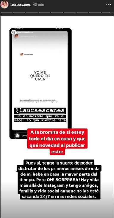 Laura Escanes y el lema de yomequedoencasa