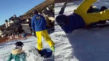 India Martínez sufre un aparatoso accidente esquiando y se lleva a una persona por delante