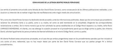 La defensa de David Flores emite un comunicado para aclarar la petición de cárcel para Rocío Carrasco