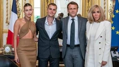 Emmanuel Macron, presidente de la república francesa, recibe a Justin Bieber en el Palacio del Elíseo