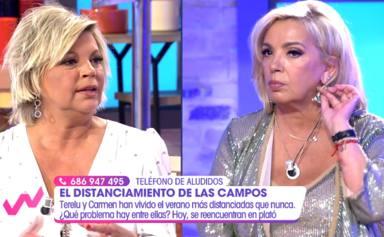 """El inesperado gesto de Carmen Borrego tras las acusaciones de Terelu Campos en directo: """"Si no os importa..."""