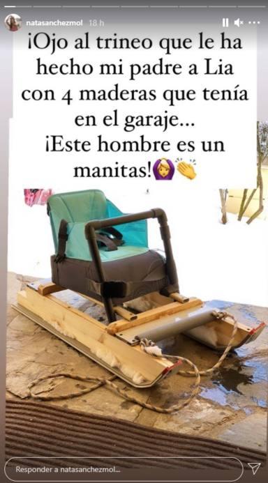 El trineo que el padre de Natalia Sánchez le ha construído a Lia