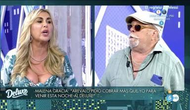 Monumental bronca entre Arévalo y Malena Gracia en el 'Deluxe' tras romper su relación sentimental