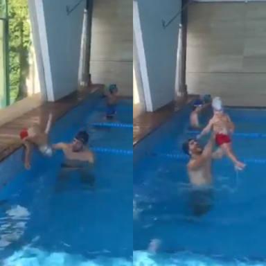 El temerario salto de la hija de Natalia Sánchez y Marc Clotet a la piscina