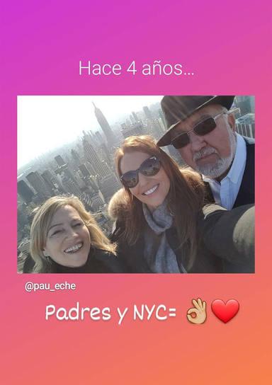 Paula Echevarría con sus padres en Nueva York