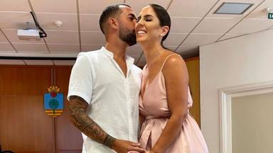 Anabel Pantoja y Omar Sánchez durante su boda