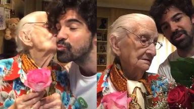 Miguel Ángel Muñoz y la tata en su Cuarentata
