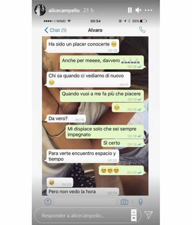 Conversaciones de Alice Campello y Álvaro Morata