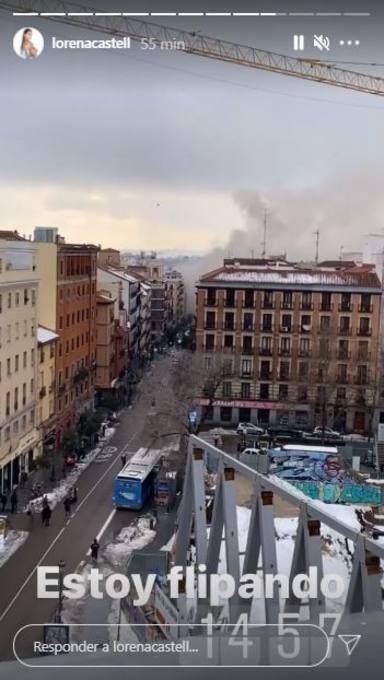 Explosión Madrid desde la casa de Lorena Castell