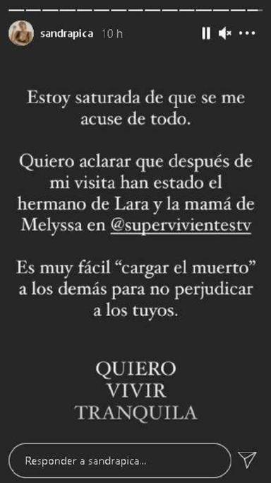 Sandra Pica se defiende con este mensaje de las acusaciones de ser el topo de Supervivientes 2021