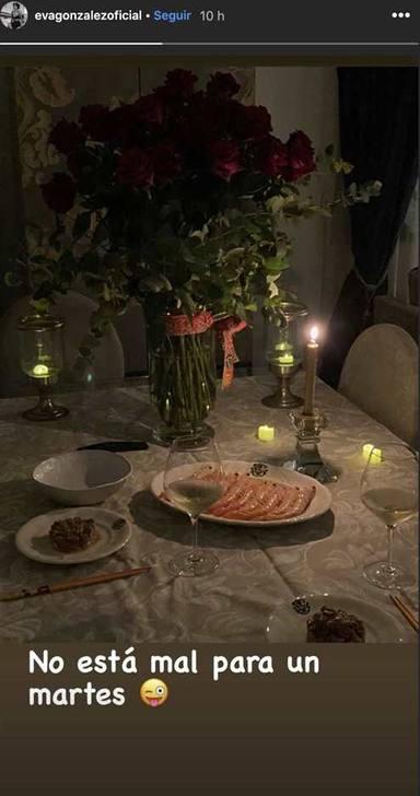 Eva González en su cena de aniversario