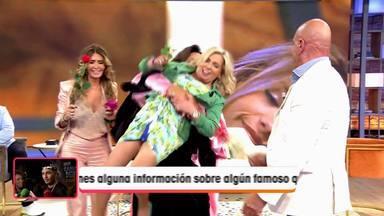 Carmen Borrego durante su primer cabreo con Torito por zarandearla al aire y enseñar su ropa interior