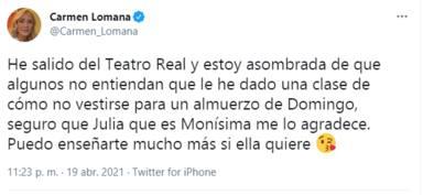 """La polémica reacción de Carmen Lomana a la estética de Julia Janeiro en su 18 cumpleaños: """"Demasiada carne"""""""