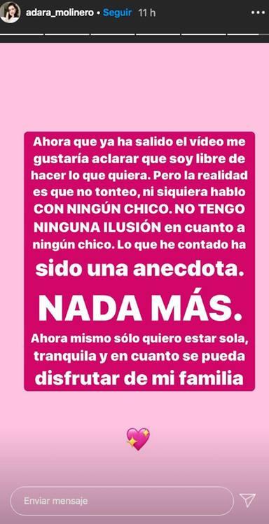 Adara Molinero rectifica en Instagram