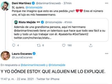 Comentario de Risto Mejide a Dani Martínez y la reacción de Laura Escanes