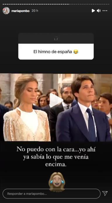María Pombo hablando sobre el Himno de España en su boda