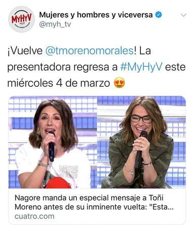 Toñi Moreno criticada por volver al trabajo