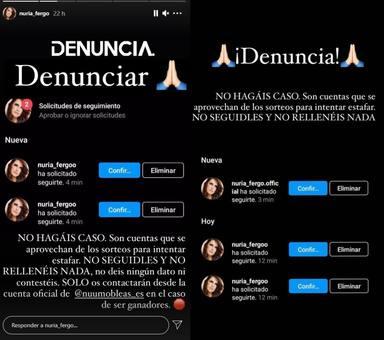 Los stories en los que Nuria Fergó advierte de la posible estafa por parte de estos perfiles falsos