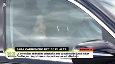 Sara Carbonero abandona muy sonriente el hospital tras su operación
