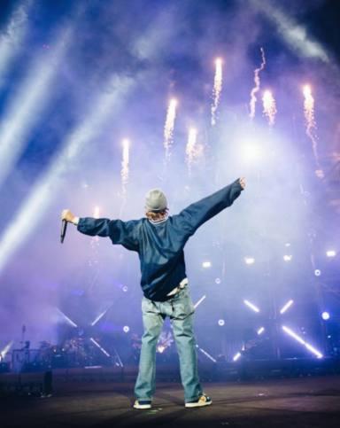 Justin Bieber en su concierto de Nochevieja