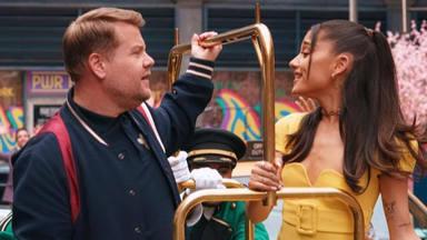 Ariana Grande se une a James Corden para celebrar el fin las restricciones de la COVID-19 en Estados Unidos