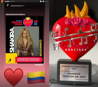 Los mensajes de agradecimiento de Shakira y Maluma por sus premios Nuestra Tierra 2021