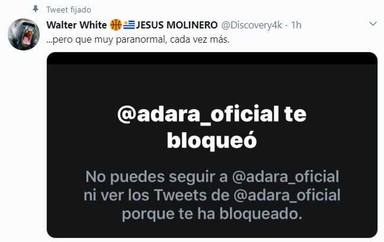 Adara bloqueó a su padre en Twitter