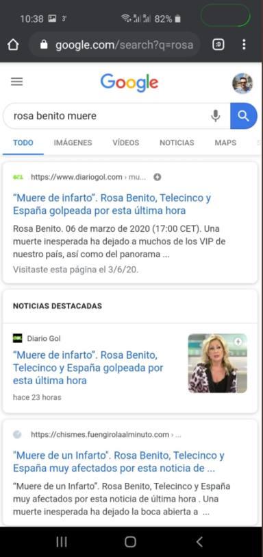 Rosa Benito muere de un infarto según una noticia falsa