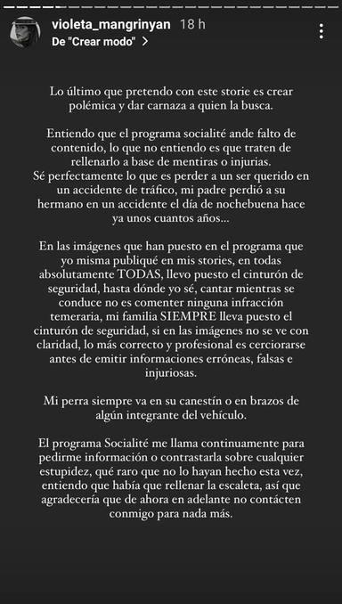 Violeta Mangriñán machaca a Socialité tras asegurar que ha cometido una imprudencia en el coche