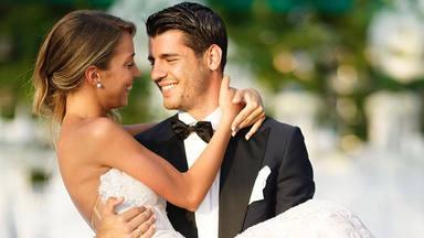 Álvaro Morata y Alice Campello en una foto de su boda para celebrar su cuatro aniversario de matrimonio