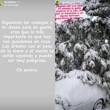 Mensaje de David Bisbal precaución con la nieve