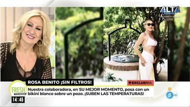 Rosa Benito comentando su posado en bikini, unas fotos realizadas por un amigo de su hijo